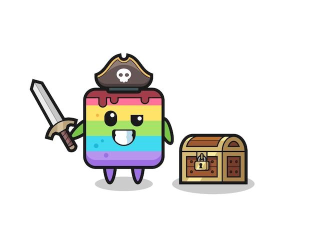 보물 상자 옆에 칼을 들고 있는 무지개 케이크 해적 캐릭터, 티셔츠, 스티커, 로고 요소를 위한 귀여운 스타일 디자인