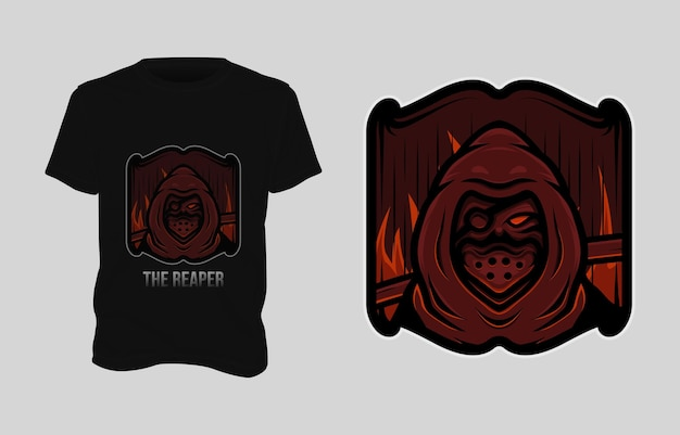 사신 일러스트 tshirt 디자인