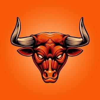 赤い雄牛の頭のイラスト