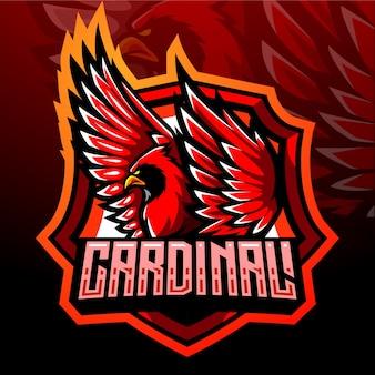 赤い枢機卿の鳥のマスコット。 eスポーツロゴデザイン