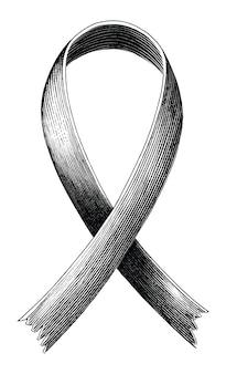 エイズのシンボルの手の赤いリボンは、白い背景で隔離のビンテージ彫刻スタイルを描画します
