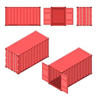赤い輸送用コンテナ。フラットでアイソメトリックなスタイル。ケースを開閉します。貨物の保管と配送。ベクトルイラスト。