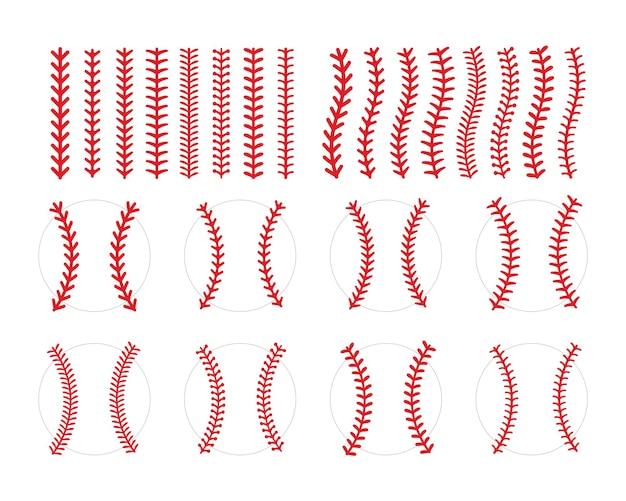Красный шов или вышивка бейсбольного мяча изолированы