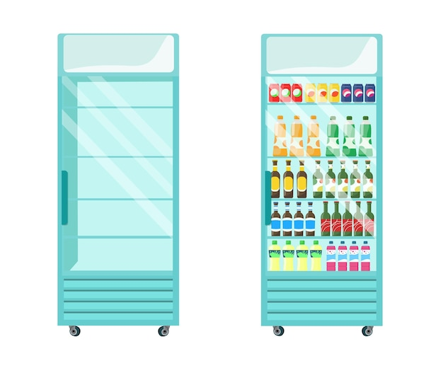 냉장고 쇼케이스는 비어 있고 음료로 가득 차 있습니다. 벡터