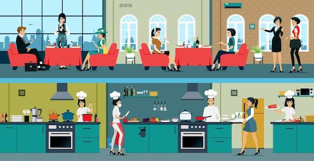 В ресторане есть столовая и кухня.