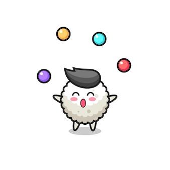 공을 저글링하는 주먹밥 서커스 만화, 티셔츠, 스티커, 로고 요소를 위한 귀여운 스타일 디자인