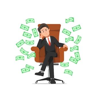 부자 사업가 보스 의자에 앉아