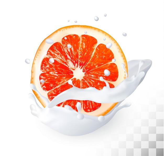 Спелый грейпфрут в молочном всплеске на прозрачном фоне. вектор.