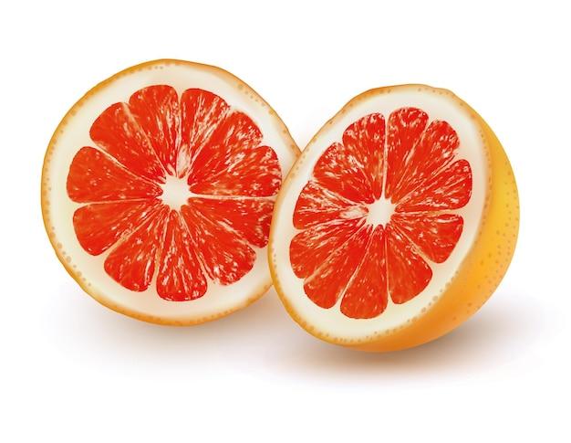 Спелый грейпфрут на прозрачном фоне. вектор.
