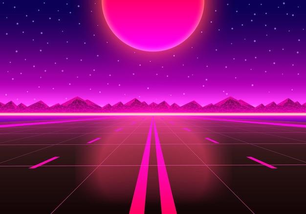 Дорога в бесконечность на закате. векторная иллюстрация
