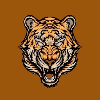 咆哮の虎の頭のデザインイラスト
