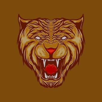 咆哮する虎の頭のイラスト
