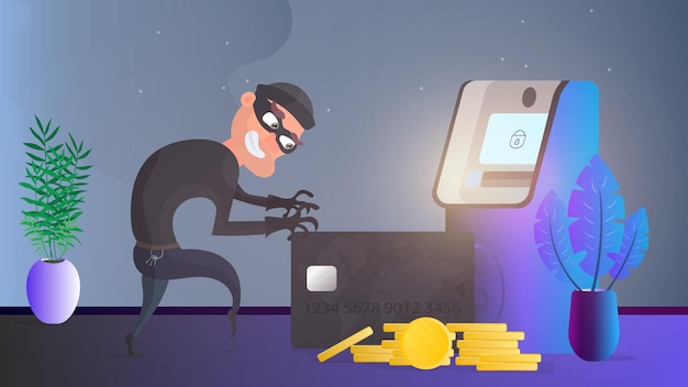 Грабитель крадет банковскую карту. вор пытается украсть банковскую карту. банкомат, золотые монеты. концепция мошенничества. вектор.