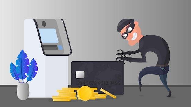 Грабитель крадет банковскую карту. вор пытается украсть банковскую карту. банкомат, золотые монеты. концепция мошенничества. Premium векторы