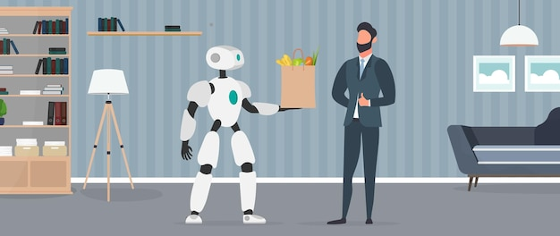 В руках робот держит сумку с продуктами. доставка еды роботами. бизнесмен показывает палец вверх. концепция будущей доставки. онлайн покупки. вектор.