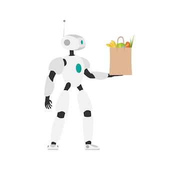 В руках робот держит сумку для покупок. концепция будущей доставки. онлайн шоппинг. изолированный. вектор.