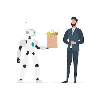 ロボットは買い物袋を手に持っています。将来の配信コンセプト。オンラインショッピング。孤立。ベクター。