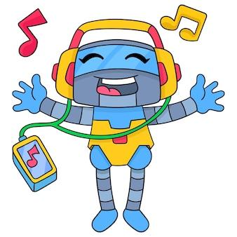 로봇은 스마트폰, 벡터 일러스트레이션 아트로 음악을 들으며 행복하게 헤드폰을 쓰고 있습니다. 낙서 아이콘 이미지 귀엽다.