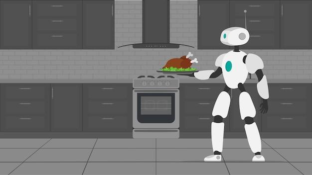 ロボットは揚げ肉が入った金属製のトレイを持っています。ロボットウェイター。未来のカフェワーカーのコンセプト。ベクター。