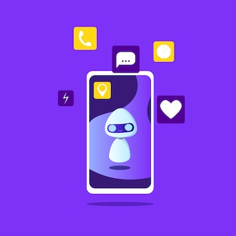 Робот на экране телефона с иконками