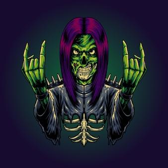Вектор иллюстрации рокер зомби