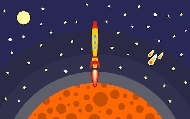 로켓이 행성에서 제거됩니다. 우주에서 로켓입니다. 우주 여행. 비행 로켓 벡터 일러스트 레이 션.