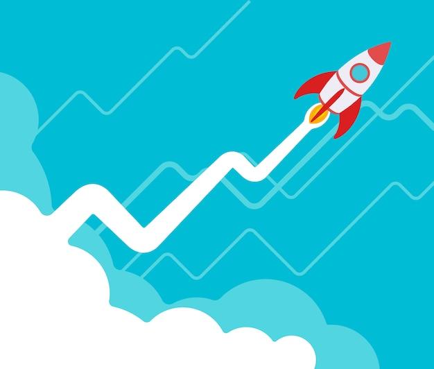 로켓은 파란색 배경에 대해 긍정적 인 성장 그래프 형태의 증기 트레일로 이륙합니다.