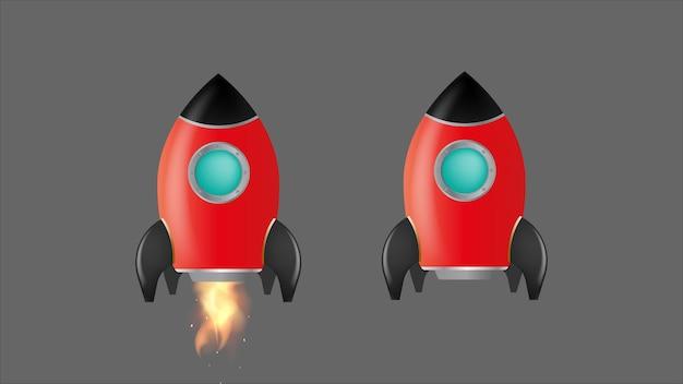 로켓이 이륙합니다. 회색 배경에 고립 된 빨간 로켓입니다. 동기 부여, 경력 성장 및 성취에 적합합니다. 벡터.
