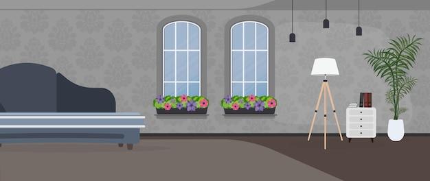 어두운 색상으로 꾸며진 객실입니다. 진한 파란색 세련된 소파, 플로어 램프, 흰색 냄비에 실내 식물. 패턴이 있는 회색 벽지. 벡터.