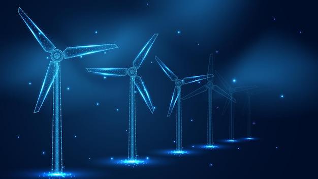 風車ライン接続の列。低ポリワイヤーフレームデザイン。抽象的な幾何学的な背景。ベクトルイラスト。