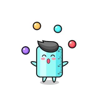 공을 저글링하는 통치자 서커스 만화, 티셔츠, 스티커, 로고 요소를 위한 귀여운 스타일 디자인