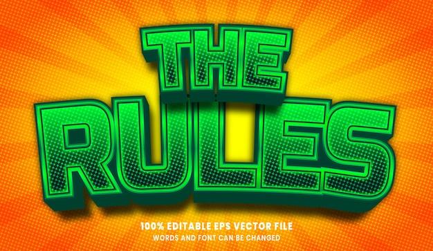 ルールの3d編集可能なテキストスタイル効果