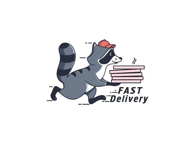 ピザの箱が付いている実行中のアライグマ、テキストによる速い配達。