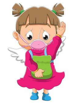 천사 의상을 입은 슬픈 소녀가 삽화 마스크를 쓰고 있다