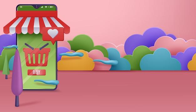 판매 및 소비자 개념. 스마트 폰으로 온라인 쇼핑. 전자 상거래 쇼핑. 삽화