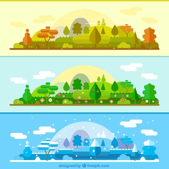 The same landscape in different seasons banners