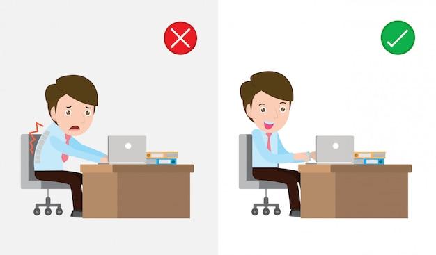 間違って正しい方法で座っている男のサンプル、正しい姿勢と正しくない姿勢、ヘルスケアのコンセプト。オフィス症候群のイラスト。