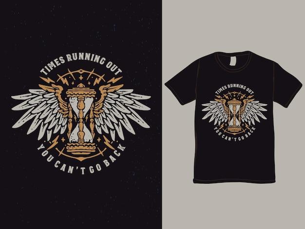 Дизайн футболки песок времени с крыльями
