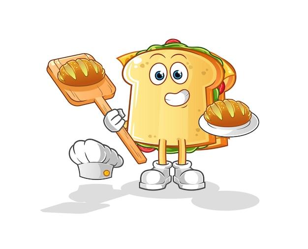 빵 캐릭터 마스코트가있는 샌드위치 베이커