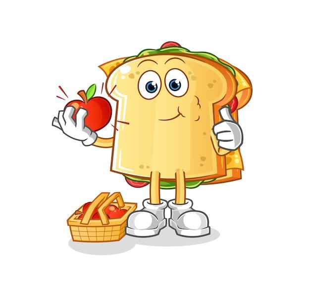 사과 캐릭터 마스코트를 먹는 샌드위치