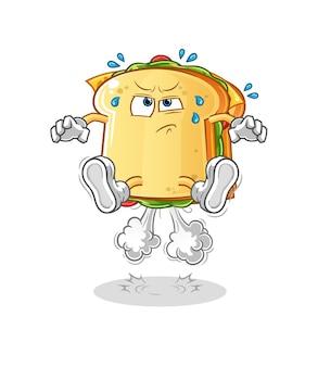 サンドイッチおならジャンプイラスト。漫画のマスコットマスコット