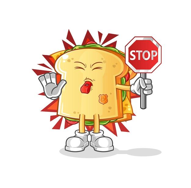 정지 신호를 들고 샌드위치 캐릭터 마스코트