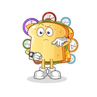 腕時計のキャラクターマスコットとサンドイッチ