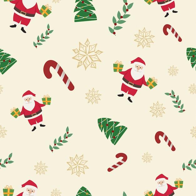 サンタクロースとキャンディーケインクリスマスシームレスパターン