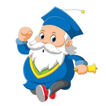 サンタクロースは学士号を使用して、イラストのベルを持っています