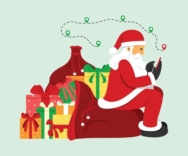 산타 클로스는 휴대 전화에서 위치를 검색하고 사전 설정 더미에 앉아 있습니다.