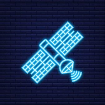 Спутник. искусственные спутники на орбите планеты земля gps. неоновая иконка. векторная иллюстрация.