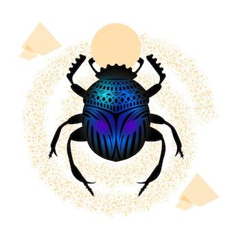 スカラベは、神話上の生き物であるエジプトのカブトムシです。昆虫の姿のリアルな輪郭と幾何学的要素を備えた貝殻の絵。