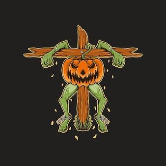 Пугало тыква лягушка хэллоуин