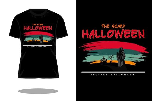 Страшный дизайн футболки с силуэтом в стиле ретро на хэллоуин